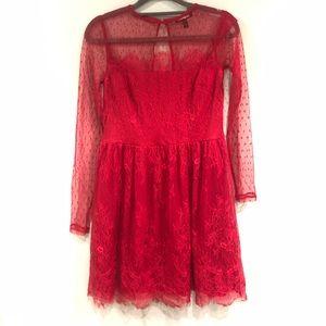 Express Dresses - Express Red Lacy Mini Dress